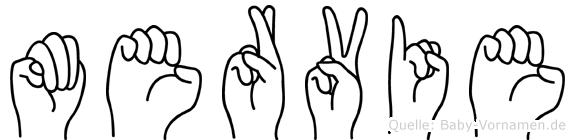 Mervie im Fingeralphabet der Deutschen Gebärdensprache