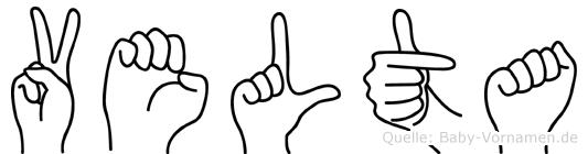 Velta im Fingeralphabet der Deutschen Gebärdensprache