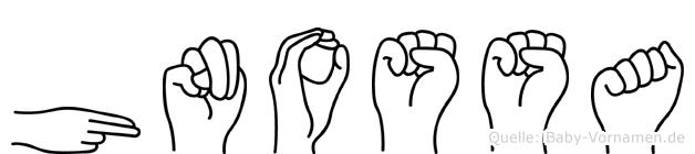 Hnossa im Fingeralphabet der Deutschen Gebärdensprache