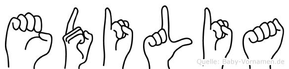 Edilia im Fingeralphabet der Deutschen Gebärdensprache