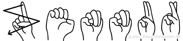 Zennur im Fingeralphabet der Deutschen Gebärdensprache