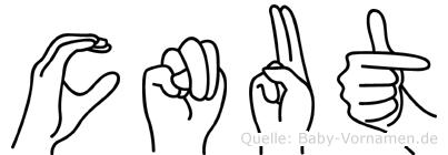 Cnut im Fingeralphabet der Deutschen Gebärdensprache