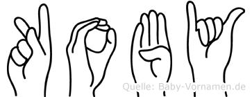 Koby im Fingeralphabet der Deutschen Gebärdensprache