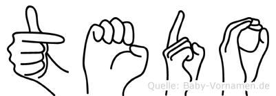 Tedo im Fingeralphabet der Deutschen Gebärdensprache