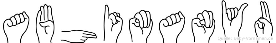 Abhimanyu im Fingeralphabet der Deutschen Gebärdensprache
