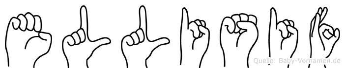 Ellisif im Fingeralphabet der Deutschen Gebärdensprache