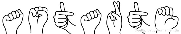 Astarte im Fingeralphabet der Deutschen Gebärdensprache