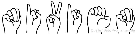 Nivien im Fingeralphabet der Deutschen Gebärdensprache