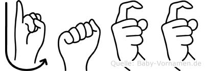 Jaxx im Fingeralphabet der Deutschen Gebärdensprache