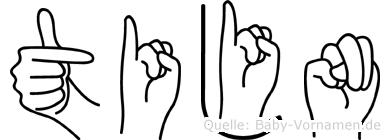 Tijn im Fingeralphabet der Deutschen Gebärdensprache