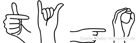 Tygo im Fingeralphabet der Deutschen Gebärdensprache