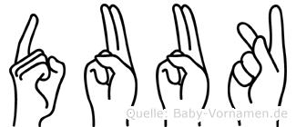 Duuk im Fingeralphabet der Deutschen Gebärdensprache