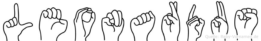 Leonardus im Fingeralphabet der Deutschen Gebärdensprache