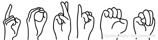 Dorien im Fingeralphabet der Deutschen Gebärdensprache