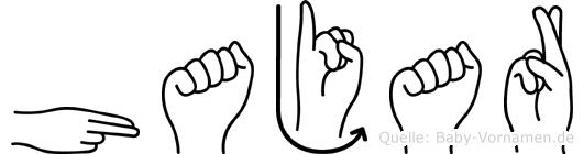 Hajar im Fingeralphabet der Deutschen Gebärdensprache