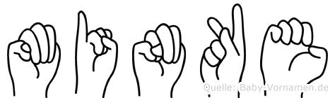 Minke im Fingeralphabet der Deutschen Gebärdensprache