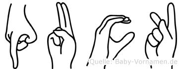 Puck im Fingeralphabet der Deutschen Gebärdensprache