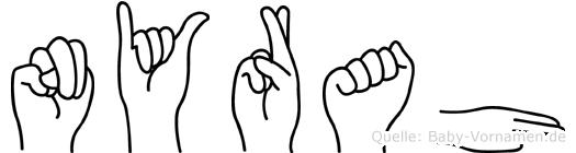 Nyrah im Fingeralphabet der Deutschen Gebärdensprache