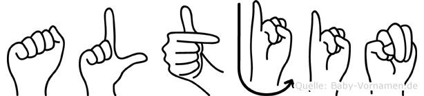 Altjin im Fingeralphabet der Deutschen Gebärdensprache