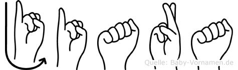 Jiara im Fingeralphabet der Deutschen Gebärdensprache