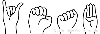 Yeab im Fingeralphabet der Deutschen Gebärdensprache
