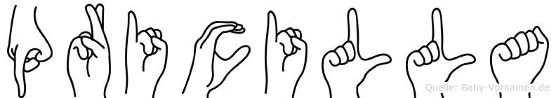 Pricilla im Fingeralphabet der Deutschen Gebärdensprache
