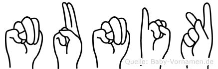 Nunik im Fingeralphabet der Deutschen Gebärdensprache