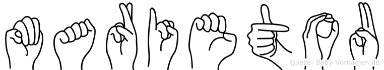 Marietou im Fingeralphabet der Deutschen Gebärdensprache