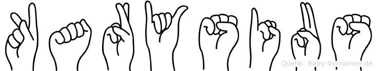 Karysius im Fingeralphabet der Deutschen Gebärdensprache