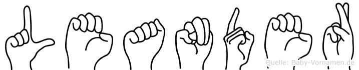 Leander im Fingeralphabet der Deutschen Gebärdensprache