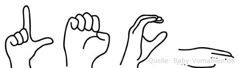 Lech im Fingeralphabet der Deutschen Gebärdensprache