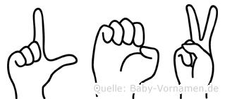 Lev im Fingeralphabet der Deutschen Gebärdensprache