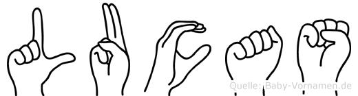 Lucas im Fingeralphabet der Deutschen Gebärdensprache