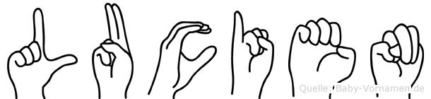 Lucien im Fingeralphabet der Deutschen Gebärdensprache