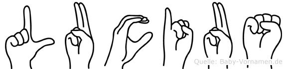 Lucius im Fingeralphabet der Deutschen Gebärdensprache