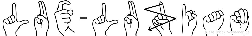 Lux-Luzian im Fingeralphabet der Deutschen Gebärdensprache