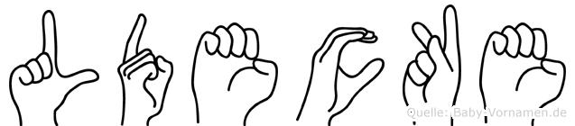 Lüdecke im Fingeralphabet der Deutschen Gebärdensprache