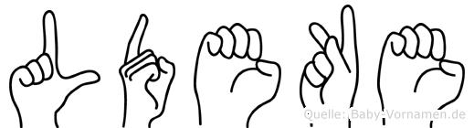 Lüdeke im Fingeralphabet der Deutschen Gebärdensprache