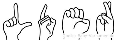 Lüder im Fingeralphabet der Deutschen Gebärdensprache