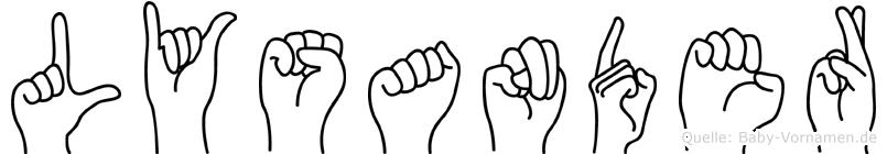 Lysander in Fingersprache für Gehörlose