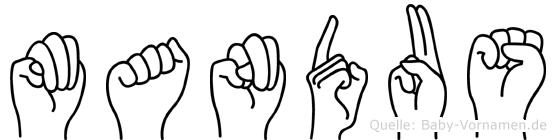 Mandus im Fingeralphabet der Deutschen Gebärdensprache