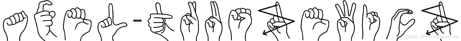 Axel-Truszewicz im Fingeralphabet der Deutschen Gebärdensprache
