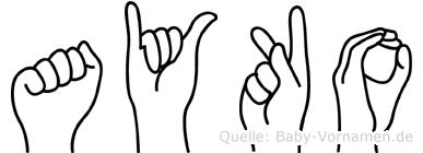 Ayko in Fingersprache für Gehörlose