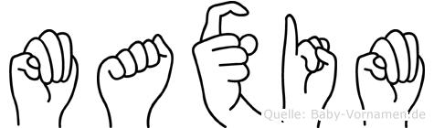 Maxim im Fingeralphabet der Deutschen Gebärdensprache