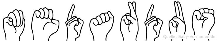 Medardus im Fingeralphabet der Deutschen Gebärdensprache