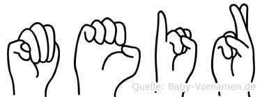 Meir im Fingeralphabet der Deutschen Gebärdensprache