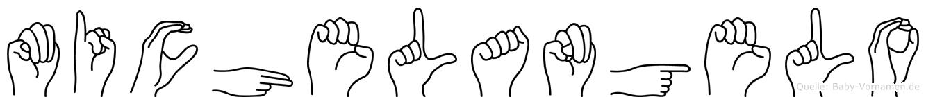 Michelangelo im Fingeralphabet der Deutschen Gebärdensprache
