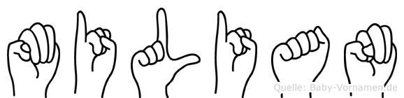 Milian im Fingeralphabet der Deutschen Gebärdensprache