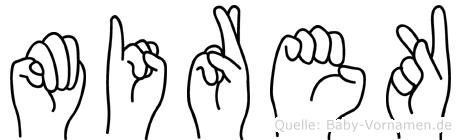 Mirek im Fingeralphabet der Deutschen Gebärdensprache
