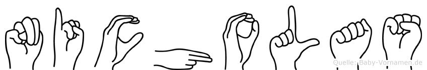 Nicholas im Fingeralphabet der Deutschen Gebärdensprache